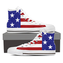 American Stars & Stripes Men's High Top Canvas Shoes