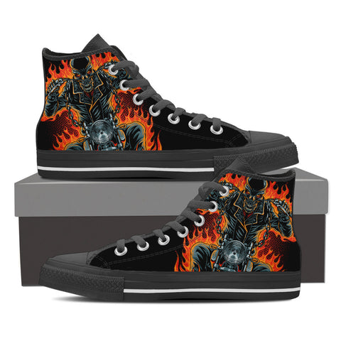 Flame Rider Men's High Top Canvas Shoes