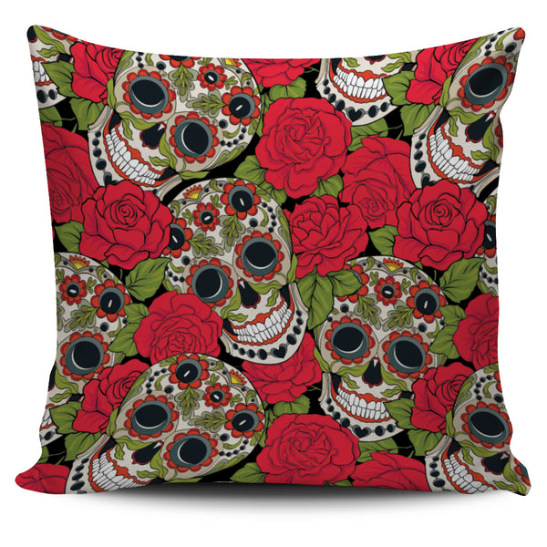 Rose Skull Pillow Cover