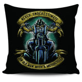 Never Underestimate An Old Man With A Motorcycle Pillow Cover