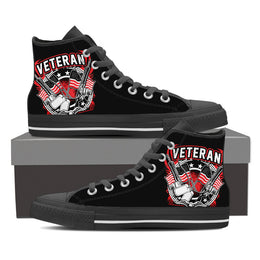 Veteran Flag & Guns Men's High Top Canvas Shoes