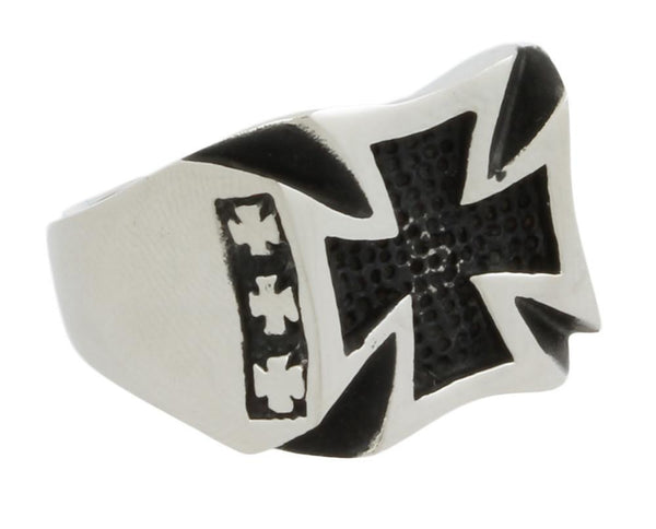 Stainless Steel Curved Iron Cross Ring