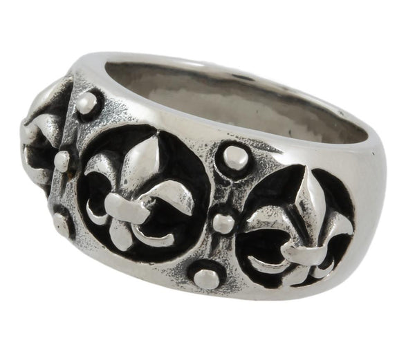 Stainless Steel Triple Fleur De Lis Ring