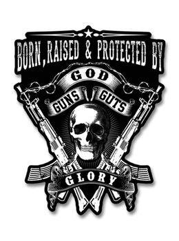 "Born, Raised & Protected By God, Guns, Guts and Glory 4"" Decal"