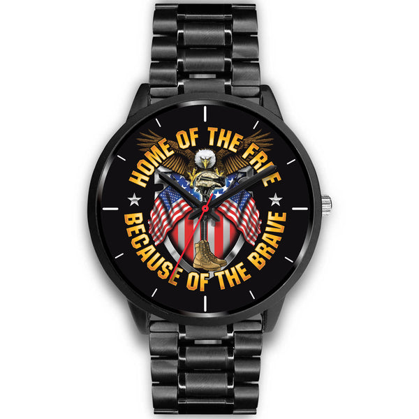 Stainless Steel Home Of The Free, Because Of The Brave Watch