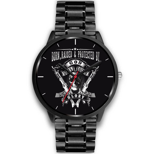 Stainless Steel 2nd Amendment God, Guns, Guts, Glory Watch