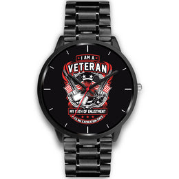 Stainless Steel Veteran Oath Flag & Guns Watch