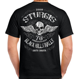 2018 Sturgis Black Hills Rally South Dakota Flying Skull T-shirt