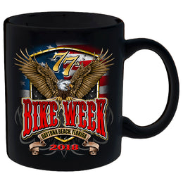 2018 Daytona Beach Bike Week Flag and Eagle - 77th Anniversary Mug