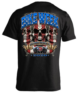 2020 Daytona Beach Bike Week American Flag & Skulls - 79th Anniversary