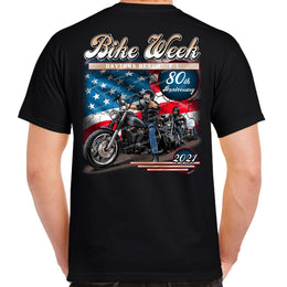 2021 Bike Week Daytona Beach American Biker 80th Anniversary T-shirt