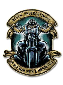 "Never Underestimate and Old Man with a Motorcycle 7"" Decal"