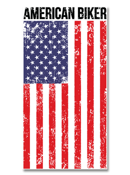 "American Biker Flag 7"" Decal"
