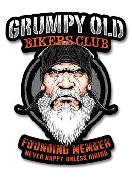 "Grumpy Old Bikers Club Founding Member 7"" Decal"