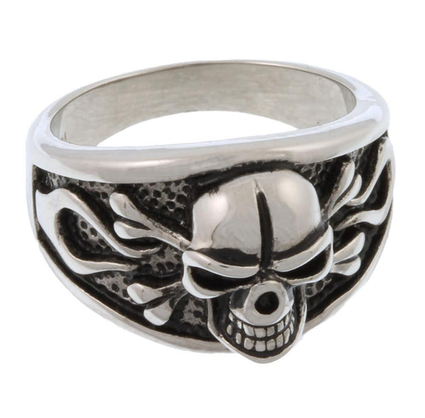 Stainless Steel 2D Evil Skull Ring
