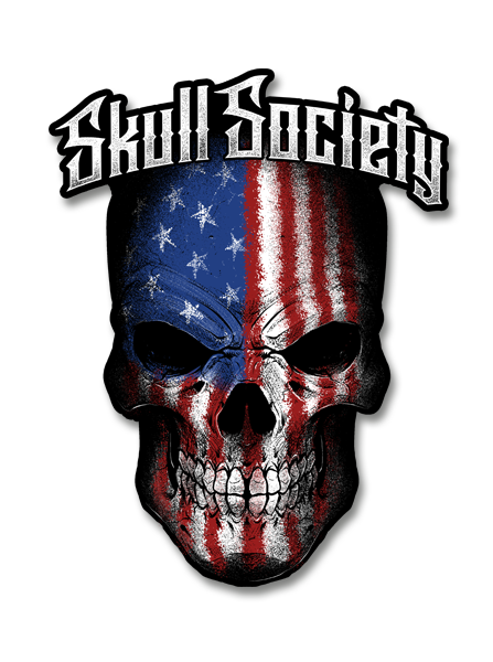 "Skull Society Stars & Stripes  4"" Decal"