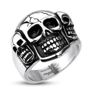 Stainless Steel Triple Skull Ring