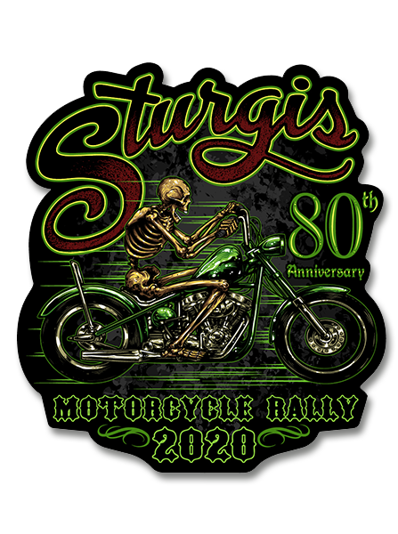 "2020 Sturgis Rally Green Skeleton 80th Anniversary 4"" Decals"