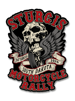 "2020 Sturgis Rally Skull & Wings 80th Anniversary 4"" Decals"