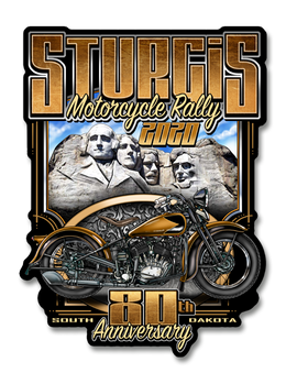 "2020 Sturgis Rally Rushmore 80th Anniversary 4"" Decal"