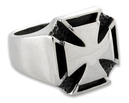 Sterling Silver Double Iron Cross Ring