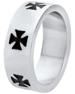 Jewelry - Stainless Steel Black Celtic Crosses Ring