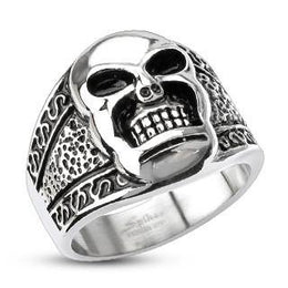 Stainless Steel Tribal Decorated Skull Wide Band Ring
