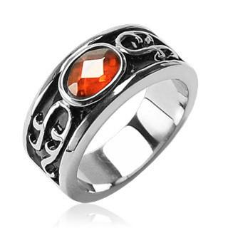 Stainless Steel Ember Stone Ring