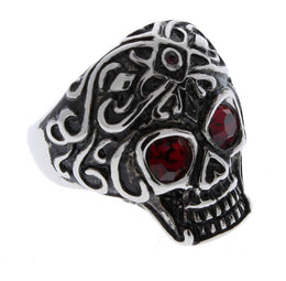 Stainless Steel Red CZ Eyed Royal Tribe Ring