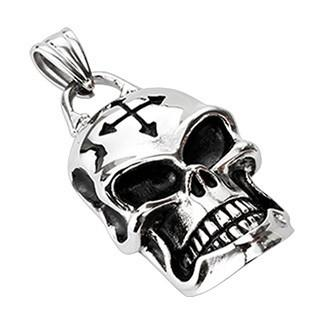 Stainless Steel Barbed Cross Skull Pendant