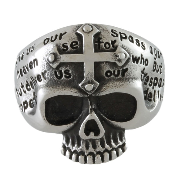 Stainless Steel Cross Message Skull Ring