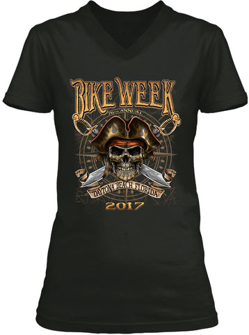 2017 Daytona Beach Bike Week Pirate Skull - 76th Anniversary (Ladies)