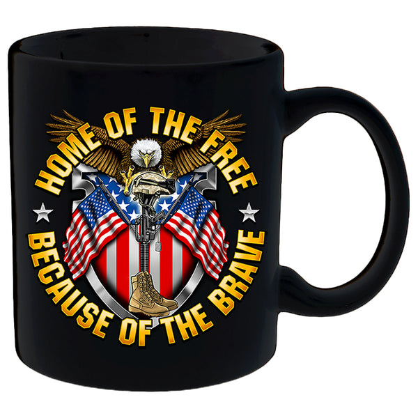 HOME OF THE FREE, BECAUSE OF THE BRAVE MUG