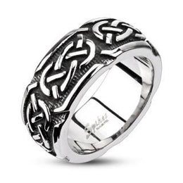 316L Stainless Steel Continuous Celtic Cast Band Ring