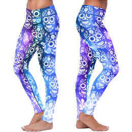 Blue and  Purple Sugar Skulls Leggings