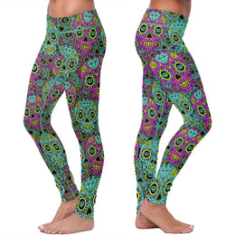 Blue and Purple Diamond Sugar Skulls Leggings