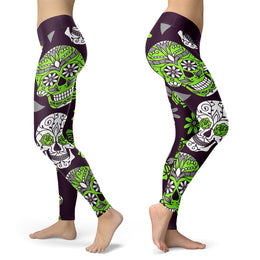 Green and Purple Sugar Skull Leggings