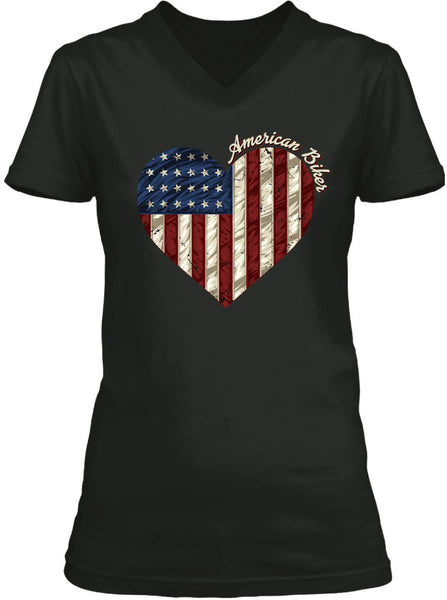 American Biker Flag & Heart (Ladies)