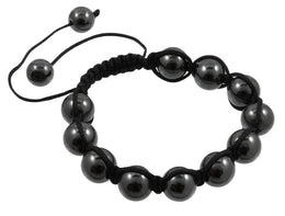 Beaded Shamballa Bracelet - Black and Dark Gray