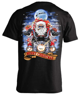 Biker Santa's Motorcycle Ugly Christmas T-shirt