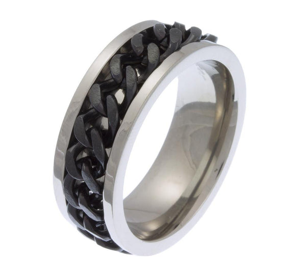 Solid Titanium Ring with Black IP Chain
