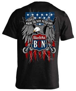 T-shirt - BikerOrNot Flag & Eagle T-shirt
