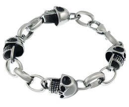 Men's Stainless Steel Skull Bracelet - 8.5 inch