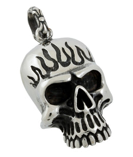 Stainless Steel Large Burning Skull Pendant