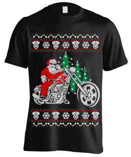 T-shirt - Ugly Christmas T-shirt Biker Santa