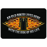 An Old Biker Lives Here With The Ride Of His Life Doormat