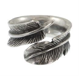 Stainless Steel Feather Wrap-Around Ring
