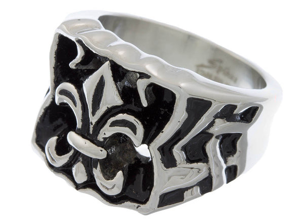 Jewelry - Stainless Steel Fleur De Lis Bow Wide Ring