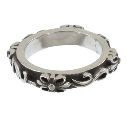 Stainless Steel Vintage-Style Floral Ring