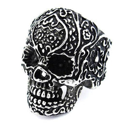 Stainless Steel Floral Design Skull Ring